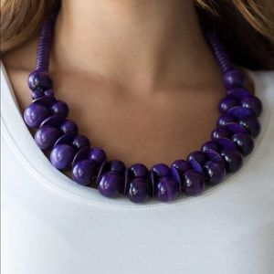 Paparazzi Caribbean Cover Grl Purple Wood Necklace